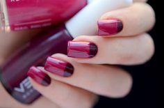 Bicolor nail art: plum & burgundy half-moon nails