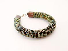 bead crochet rope bracelet. Green bold bracelet. Beaded jewelry. Hand crocheted.