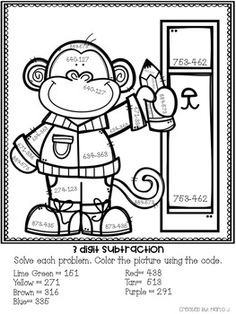 3 Digit Addition and Subtraction Color-By-Number Back To
