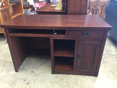 Dark brown sturdy desk. Great storage space and features- $225 Buy online at mkconsignment.com  #furniture #mk #consignment #forsale #desk #office #bedroom #student #homework #dorm #college
