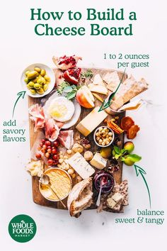 No appetizer table is complete without the perfect cheese board. Get tips for building a platter thats sure to impress guests and satisfy taste buds. Whole Foods Market, Yummy Appetizers, Appetizers For Party, Whole Food Recipes, Cooking Recipes, Fromage Cheese, Good Food, Yummy Food, Brunch