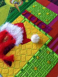 What a Surprise! needlepoint bird Christmas