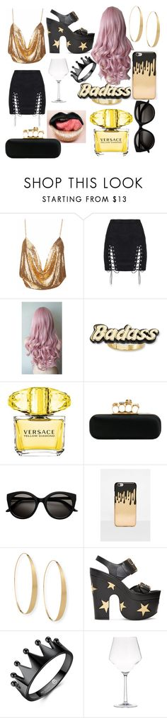 """Dripping in Gold"" by kaleidoscopic-lemon ❤ liked on Polyvore featuring Steve Madden, Versace, Alexander McQueen, Missguided, Lana, STELLA McCARTNEY and Pottery Barn"