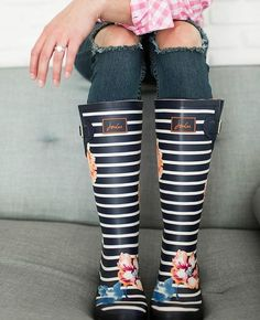 Striped and floral rain boots
