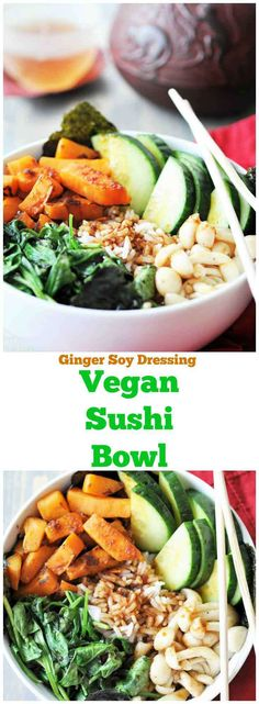 Vegan Sushi Bowl with Ginger Soy Dressing! All of my favorite veggie rolls in one delicious and easy sushi bowl recipe. www.veganosity.com