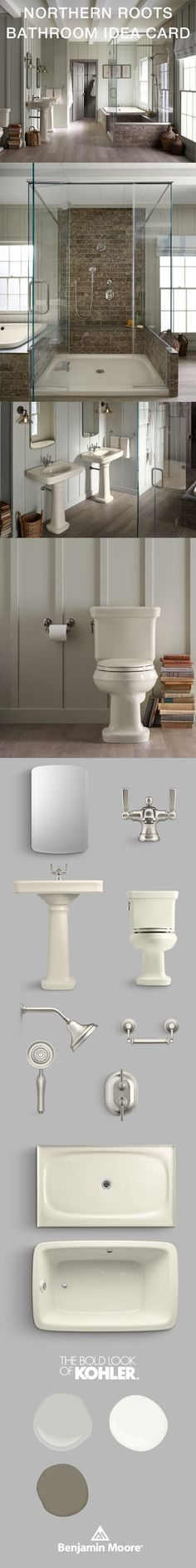 Bancroft suite, biscuit, off white bathroom, cool neutral bathroom, rustic bathroom, get the look #CollaborationinFullColor