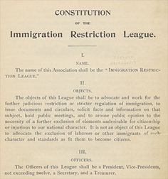 The Immigrant Restriction League was designed to try and limit immigration in the United States. They doubted the ability of the government to control the amount of immigrants, and tried to act on their own. The members thought of immigrants as the cause of social and economical problems and felt it necessary for there to be restrictions.