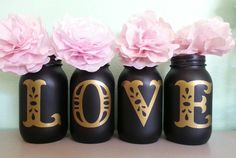 Chalkboard LOVE Mason Jars Black and Gold Mason Jar by Jones4Blush, $15.00