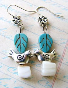 Little Bird Earrings with Shell Cube Beads and Turquoise Leaves on Silver Daisy Earwires. $14.00, via Etsy.