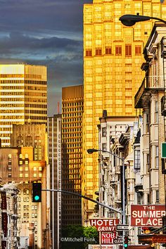 Bush Street Lower Nob Hill With Skyscrapers In The Background, San Francisco  www.mitchellfunk.com