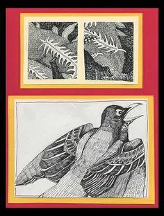 Bird - Pen Drawing: plants, ferns, nature.
