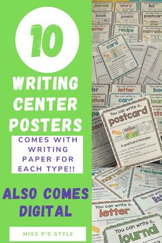 Use this printable and digital writing center in-person or online! Students will have access to 10 common writing genre posters an each poster comes with printable writing paper templates. These posters come digital in 2 different formats. Writing genres includes personal narrative, story, book, recipe, poetry, card, letter, and more! Student engagement and writing will increase with this comprehensive and fun writing center! This writing center can be used with 1st, 2nd, 3rd, 4th & 5th grade!