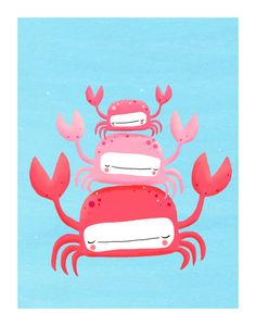 crabs nursery art quirky pink sea creatures on blue by lulufroot, $20.00