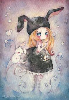 Alice au pays de merveilles, aquarelle de Juri Ueda.: