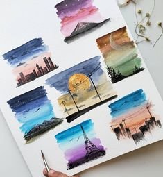 Landscape sketches created with our KUM Memory Point br Tiny aquarell paintings. Landscape sketches created with our KUM Memory Point br Landscape Sketch, Watercolor Landscape, Watercolor Art, Watercolor Beginner, Watercolor Paintings For Beginners, Watercolor Journal, Watercolor Brushes, Small Canvas Art, Mini Canvas Art