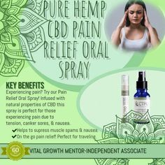 Try our Pain Relief Oral Spray with CBD! Infused with natural properties of CBD, this spray is great for those experiencing pain caused by tension, canker sores or other types of ailments such as nausea and muscle spasms. Muscle Spasms, Cbd Hemp Oil, Cold Sore, Carrier Oils, For Your Health, Pain Relief, Anti Aging, Canker Sores, Weight Loss