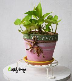 Set of 2 White  Flower design Wrought Iron plant pot  20cm Garden stands /bases  #EarthlyLiving