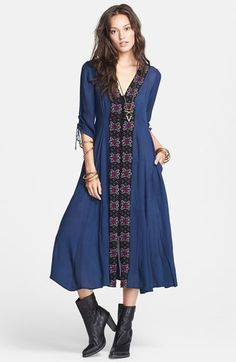 Free People 'Journey Horizon' Embroidered Fit & Flare Midi Dress available at #Nordstrom
