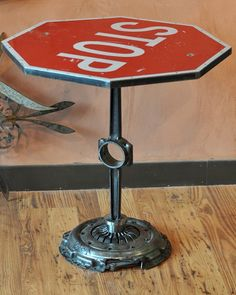 Stop sign table, car parts base. Interesting table for man cave. Industrial Design Furniture, Industrial Interiors, Furniture Design, Industrial Chic, Industrial Closet, Industrial Bookshelf, Industrial Windows, Industrial Restaurant, Kitchen Industrial