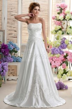 Fancy A-line/Princess Sweetheart Chapel Embroidery Nastya's Wedding Dress