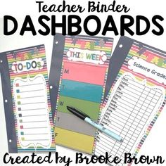 These Dashboards are your new organizational lifesaver for your Teacher Binder! Simply laminate, three-hole punch, and place in the front of your Teacher Binder to reuse over and over with a Vis-a-Vis marker! Glue back-to-back for two-sided Dashboards!Includes EDITABLE templates for you to type in your own content!Includes the following:Page 3: To-DosPage 4: To CopyPage 5: This Week  (Monday-Friday) Page 6: NotesPage 7: Big Tasks/Little TasksPage 8: Post it organizer (EDITABLE)Page 9…