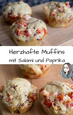 As a main course, snack, finger food or for a party. Fast and easy Salami bell pepper savory muffin recipe. As a main course, snack, finger food or for a party. Fast and easy Simple Muffin Recipe, Healthy Muffin Recipes, Donut Recipes, Quick Recipes, Savory Muffins, Healthy Muffins, Party Finger Foods, Snacks Für Party, Vegan Appetizers