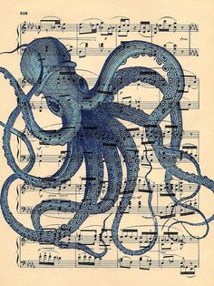 Artistic Octopus Art Print Antique Music Book Page by BlackBaroque, $10.00