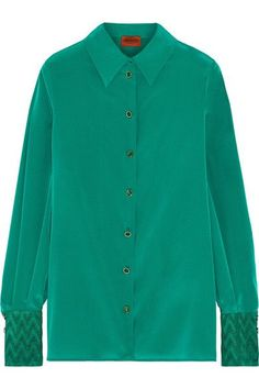 Missoni - Metallic Crochet Knit-trimmed Stretch Silk-blend Shirt - Green - IT