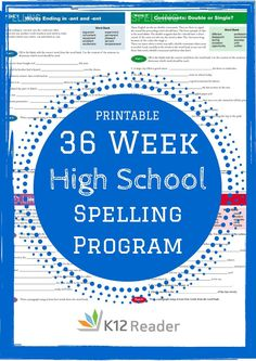 Provided by @ FREE, printable 36 Week High School Spelling Program! Provided by @ Homeschool High School, Commonly Misspelled Words, High School English, English Class, Online Programs, Home Schooling, Middle School, High School Writing, Free Printable