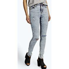 Boohoo Lara High Rise Ripped Knee Super Skinny Jeans ($20) ❤ liked on Polyvore