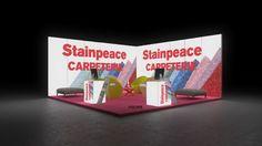 350 Teppichböden Stainpeace Carpeterie | Auffälliger Messestand für einen Hersteller von Teppichböden.   Das bunte Textilmustermotiv auf den bedruckten Leuchtwänden schafft Aufmerksamkeit...