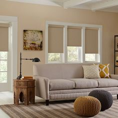 Blackout Roller Shades provide an elevated level of light control and are available in stylish patterns and colors. Shown here in Costa Sandbar with the cordless lift option and optional Valance.