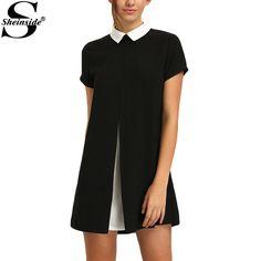 Black White Contrast Collared Spliced Women Dresses Casual Summer Style Women New Ladies Color Block Mini Dress  #dress #summer #copic #streetfashion #australianbrand #blue #wiwt #details #fashionblogger #repost