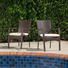 $193 Overstock Christopher Knight Home Corsica Outdoor Wicker Dining Chair with Cushion (Set of 2)