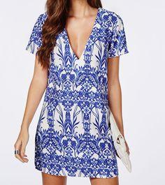 Blue Short Sleeve V Neck Vintage Print Dress