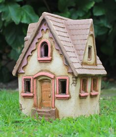 Lucy's House (pink and purple trim) | Harry Tanner Design  little clay house sculpture lamp