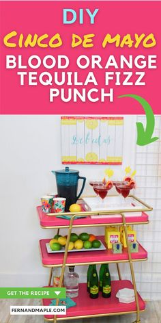 This tequila-based punch with blood orange soda added for the perfect fizz is so simple, colorful and bursting with flavor! Enjoy this fresh take on the traditional margarita. It's the perfect drink to serve at your Cinco de Mayo party! Get the recipe and more Colorful Modern Fiesta Party ideas now at fernandmaple.com!