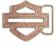 Harley-Davidson® Women's Belt Buckle Crystal Bar & Shield Bling. W10087-PNK