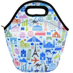Neoprene Lunch Bag - Insulated Lunch Tote Bags for Women & Girls - Lunch Boxes for Kids & Adults - Adult Lunch Box (World Travel Design)
