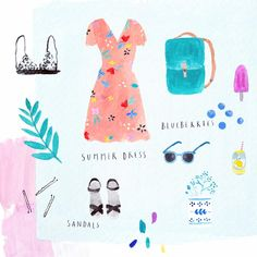 Sketching a few summer essentials#illustration #summer #watercolour