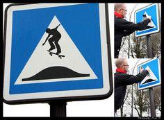 Des panneaux de signalisation revisités avec des figures de skate et bike - Tuxboard