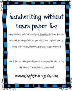 Are you tired of trying to create Handwriting without Tears paper?Easy Teaching Tools has created 66 templates that are fun and will work for any scholar in your classroom. Pre Writing, Kids Writing, Writing Prompts, Writing Paper, Teaching Letters, Teaching Tools, Kindergarten Writing, Kindergarten Handwriting, Handwriting Ideas