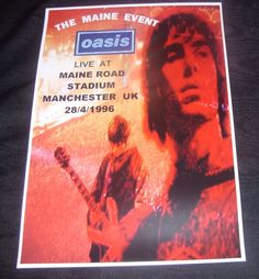 OASIS concert poster Maine Road Stadium Manchester UK 1996  A3 size repro | eBay