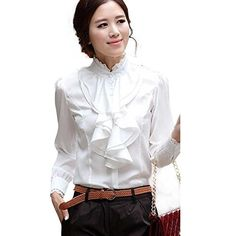 Womens Lace Ruffle Neck Long Sleeve Stand Collar OL Shirt Tops Blouse White XL ** Find out more about the great product at the image link.Note:It is affiliate link to Amazon. #WomenPlusDress