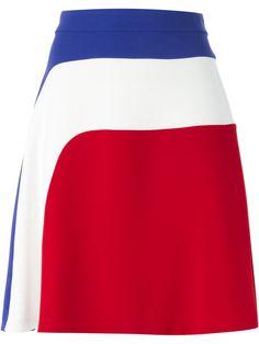 Shop CARVEN racer stripe A-line skirt from Farfetch