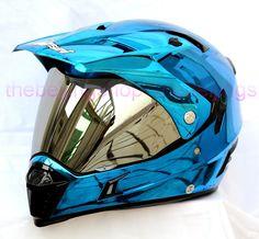 Blue Chrome on Road Flip up Len Dirt Motorcycle Helmet