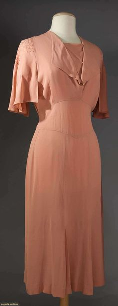 JEAN PATOU SILK DAY DRESS & JACKET, 1930s  Peach silk crepe, dress w/ pulled threadwork to cap sleeves (also on jacket), inset deep midriff band, straight skirt w/ 2 pleats; t/w 1 red chiffon coat