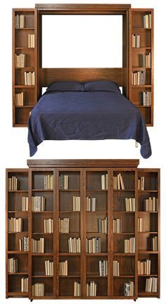 The new Bi-Fold Bookcase Murphy Bed (shown in oak) is available only from Stuart David Home Furnishings. Get yours handmade in your custom selection of real wood, finish, and configuration. Visit our Cama Murphy, Murphy Bed Ikea, Murphy Bed Plans, Murphy Bed Bookcase, Bookshelf Bed, Tv Beds, Modern Murphy Beds, Construction, Bed Wall