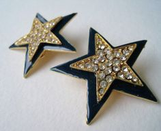 Vintage Early 90s Retro Nautical Rhinestone Earrings by ThePaisleyUnicorn, $5.00