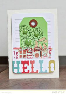 Hello darling by Jen Jockisch at Studio Calico - love the flowers created with scribbled circles and brads for centers.